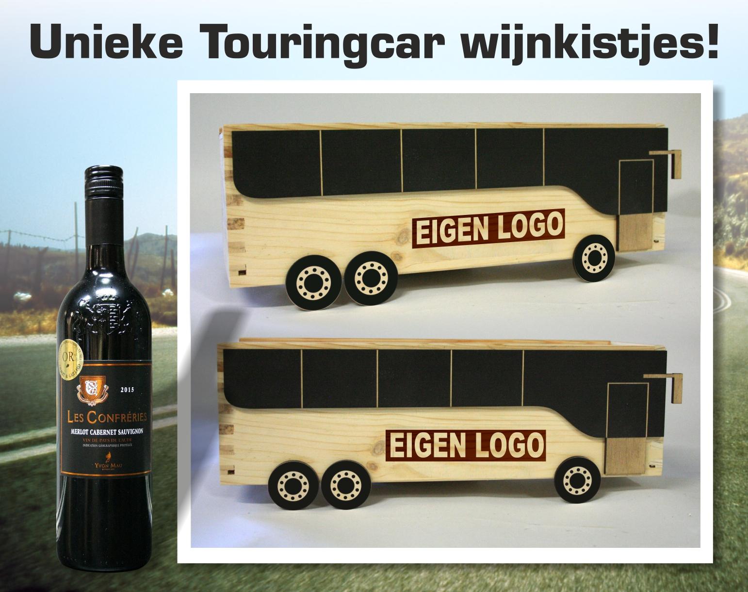 unieke wijnkistjes in de vorm van een touringcar